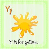 Illustration of an alphabet Y is for yellow