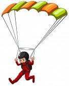 Illustration of a man doing sky diving