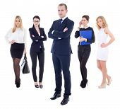 Team Concept -  Successful Business Man And His Workers Isolated On White