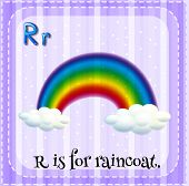 Illustration of an alphabet R is for rainbow