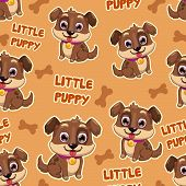 Seamless pattern with puppy