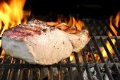 picture of pork belly  - Pork Ribs on the Flaming BBQ Grill - JPG