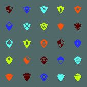 Design Shield Color Icons On Gray Background