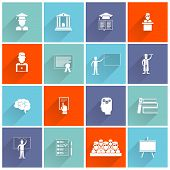 Higher Education Icons Flat