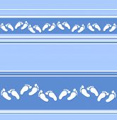 Seamless Blue Stripy Background With Scattered Feet Decor