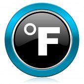 fahrenheit glossy icon temperature unit sign
