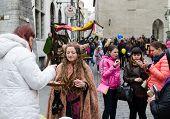 Tallinn,estonia - May 1: Tallinn Old Town On May 1,2014. Tourists Walk Through The Ancient Streets O
