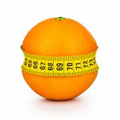 Orange Tightened Measuring Tape On A White Background. Concept Slim Figure.