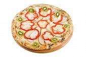 Sweet pizza with chicken isolated on white