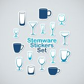 Set of stemware icon stickers