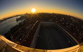 Sunset in Venice aerial view over piazza San Marco