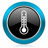 thermometer glossy icon temperature sign