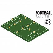 Soccer strategy formation type 4-5-1. EPS10