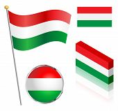 stock photo of flag pole  - Hungarian flag on a pole badge and isometric designs vector illustration - JPG