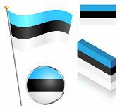 stock photo of flag pole  - Estonian flag on a pole badge and isometric designs vector illustration - JPG