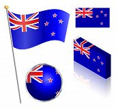 stock photo of flag pole  - New Zealand flag on a pole badge and isometric designs vector illustration - JPG