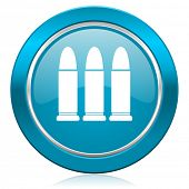 ammunition blue icon weapoon sign