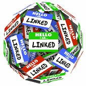 Linked word on nametags or stickers in a ball or sphere to illustrate connections and networking in professional groups of colleagues