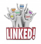 Linked word and people marketed Networked, Associated, Referred, United, Connected and Allied to illustrate connections in a professional group