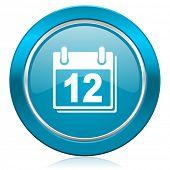 calendar blue icon organizer sign agenda symbol