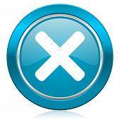cancel blue icon x sign