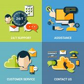 Contact us flat icons composition