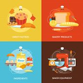 stock photo of cake-mixer  - Bakery flat icons set with sweet pastries products ingredients baker equipment isolated vector illustration - JPG