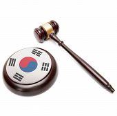 Judge Gavel And Soundboard With National Flag On It - South Korea