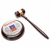 Judge Gavel And Soundboard With National Flag On It - Mayotte