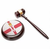 Judge Gavel And Soundboard With National Flag On It - Northern Ireland