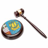 Judge Gavel And Soundboard With National Flag On It - Saint Pierre And Miquelon