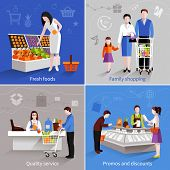 stock photo of supermarket  - People in supermarket design concept set with fresh fruits family shopping quality service promos and discounts flat icons isolated vector illustration - JPG