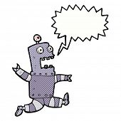 cartoon terrified robot with speech bubble