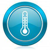 thermometer blue icon temperature sign