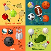 Sports 4 flat icons composition