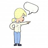 cartoon enthusiastic woman pointing with speech bubble
