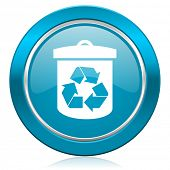 recycle blue icon recycling sign