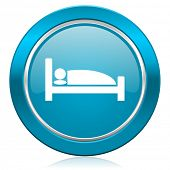 hotel blue icon bed sign