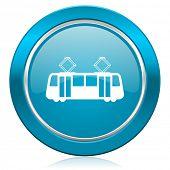 tram blue icon public transport sign