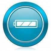battery blue icon charging symbol power sign