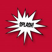 The word Splash in a Comic Book Star on red Background