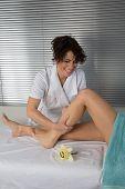 Closeup Of Leg Receiving Massage