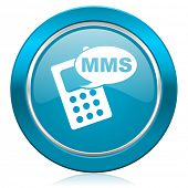 mms blue icon phone sign