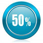 50 percent blue icon sale sign