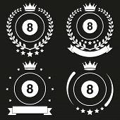 Set of Vintage Billiard Club Badge and Label