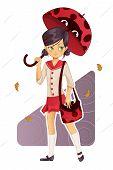 School girl in uniform with ladybug umbrella and bag