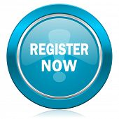 register now blue icon