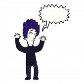 cartoon vampire giving up with speech bubble