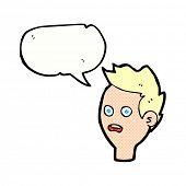 cartoon worried man with speech bubble