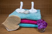 Spa Still Life With Zen Stones Aromatic Candles And Orchids Abstract Background